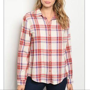 Cream + red plaid button down tunic shirt.